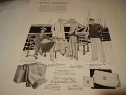 ANCIENNE PUBLICITE NOTE D ELEGANCE LES REGATES DE DEAUVILLE 1930 - Vestiti & Biancheria D'epoca