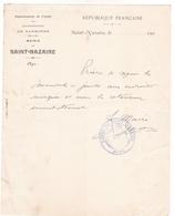 11 / SAINT NAZAIRE D AUDE / LETTRE  MAIRIE MANUSCRITE SIGNEE DU MAIRE  AVEC TAMPON 1905 - Documents Historiques