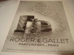 ANCIENNE PUBLICITE PARFUM ROGER GALLET FEU FOLLET 1931 - Parfums & Beauté