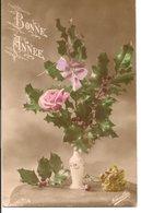 L74A522  - Bonne Année -Rose Et Houx Dans Un Vase - Novelia N°777/4 - Nieuwjaar