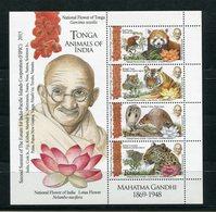 """Tonga - Block Nr. 100 - """"2. Gipfeltreffen Des Forums Für Zusammenarbeit / Gandhi Und Tiere"""" ** / MNH (aus Dem Jahr 2016) - Tonga (1970-...)"""