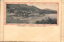 Monaco, Monte-Carlo, Carte Lettre Avec Livret Illustré, Le Port Et Le Casino      (bon Etat) - Monte-Carlo