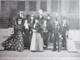 Pékin , Les Femmes Des Ministres Plénipotentiaires Européens En Chine , Gravure Sgap 1900 - Documents Historiques
