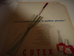 ANCIENNE PUBLICITE VERNIS A ONGLES CUTEX 1956 - Parfums & Beauté