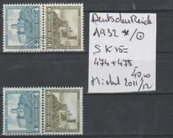 TIMBRES DE L ALLEMAGNE NEUF*/OBLITEREES  COMPOSEES Nr SK15=474+475    COTE 40   € - Zusammendrucke