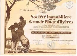 Ancienne Action - Société Immobilière De La Grande Plage D'Hyères - Titre De 1928 - N°06931 - Déco - Actions & Titres