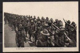 Défilé Des Troupes Américaines Sur Carte En Franchise Militaire - Guerre 1914-18