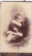 ANTIQUE CDV PHOTO -FED UP SMALL CHILD . BLACKPOOL STUDIO - Photographs
