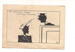 M7402 UNIVERSITA' FESTA MATRICOLA STUDENTE SILUETTE MILANO 1937 VIAGGIATA Lieve Strappeto In Basso - Scuole