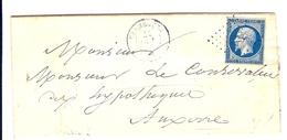 LETTRE ECRITE AU DEPART DE VERMENTON POUR MONSIEUR LE CONSERVATEUR DES HYPOTHEQUES AUXERRE 1855 - Marcophilie (Lettres)