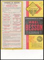 DEPLIANT   CONSERVES DE LUXE    ABEL   BESSON - Vieux Papiers