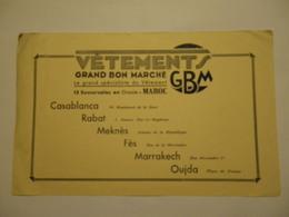 Rare Buvard Marocain Vêtements GBM Grand Bon Marché 15 Succursales En Oranie - Maroc - Textile & Vestimentaire