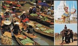 THAILANDIA - MERCATO SULL'ACQUA - FORMATO GRANDE 18X 12 - VIAGGIATA FRANCOBOLLO ASPORTATO - Tailandia