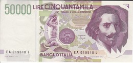 BILLETE DE ITALIA DE 50000 LIRAS DEL AÑO 1992 DE LORENZO BERNINI EN CALIDAD EBC (XF) (BANKNOTE) - [ 2] 1946-… : República