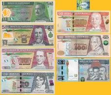 Guatemala Set 1 5 10 20 50 100 200 Quetzales 2009-2016 UNC - Guatemala