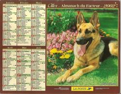 Calendriers. Grand Calendrier P.T.T. 2002. Berger Allemand, Husky Sibérien. Intérieur Passage à L'€uro (facteur) - Calendars