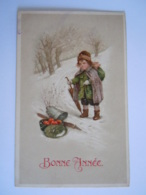 Bonne Année Fillette Dans La Neige Paraplui Meisje In De Sneeuw Edit Amag 1207 Circulée Bruxelles 1920 - Illustrators & Photographers