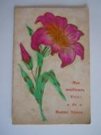 Fleur Lis Lily Bloemen Lelie Carte Gaufrée Circulée 1909 Naar Overyssche Edit V.P.F. - Flores