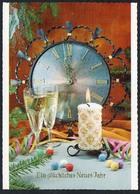 B8552 - TOP Glückwunschkarte - Neujahr - Uhr Sekt Kerze - JLM - Nouvel An