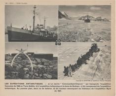 Gravure 20 X 24 - Les Expéditions Antarctiques - Le Navire Commandant Charcot En Terre Adélie - Vieux Papiers