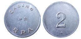 01134 GETTONE TOKEN JETON BELGIUM BELGE GAMING CASINO DE SPA 2 ZINC - Casino