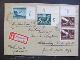 DR Nr. 878 + 904 MiF, Eckrand, R-Brief 1944, Tag Der Briefmarke, Hamburg *DEL2072* - Deutschland