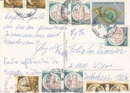 ITALIEN 1989 - 11 Fach Frankierung Auf Ak BORGO VASULGANA Rasrstation, Gel.n.Wien - 1946-.. République
