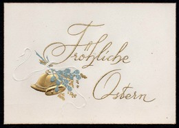 B8566 - TOP Präge Litho Glückwunschkarte - Ostern - Golddruck Glocken - Ohne Adressteil Auf Der Rückseite - Autres