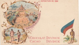 Litho HAITI 1900 - CHOCOLAT CACAO DEVNICK - EXPO 1900, Karte Beschnitten?, Größe 14 X 8 Cm - Haiti