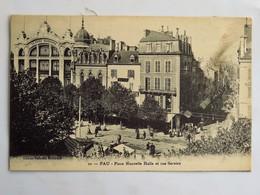 C.P.A. : 64 PAU : Place Nouvelle Halle Et Rue Serviez, En 1916 - Pau