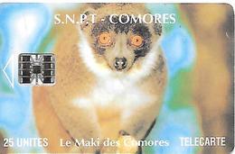 CARTE-PUCE-25U-SC7-SNPT COMORES-MAKI-UTILISE-V°N° Rouge Centré 00172847-V°Ecriture Fine-TBE - Comoros