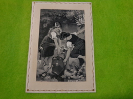 Gravure Soie - Ancienne - D'apres E. Munier-7x10cm Sans Le Cadre-fillette Cruche - Art Populaire