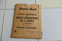 MILITARIA- CARTE DEPLIANTE COULEUR OFFICIELLE DU SERVICE GEOGRAPHIQUE DE L'ARMEE DE MAI 1930-PARIS SUD - Roadmaps