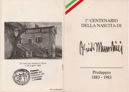 Tessera 1° Centenario Della Nascita Di Mussolini - Documentos Antiguos
