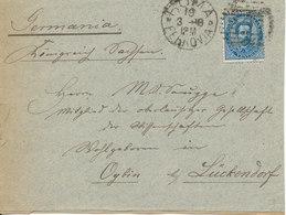 Italy Cover Sent To Germany Roma Ferrovia 19-3-1888 Single Franked - 1878-00 Umberto I