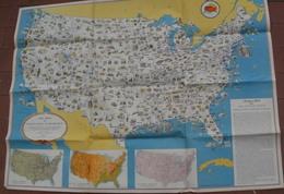 Carte Illustrée Des ETATS UNIS 60.5 X 81 CM Publiée Par L'Office De Guerre Des Etats Unis - Cartes Topographiques