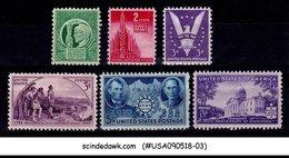 UNITED STATES - 1941-43 COMMEMORATIVES SCOTT#903-908 - 6V - MINT NH - Vereinigte Staaten