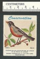 B53-06 CANADA Quebec Conservation QFFGA MNH Bird Robin - Local, Strike, Seals & Cinderellas