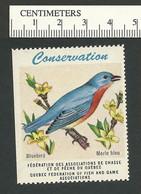 B53-07 CANADA Quebec Conservation QFFGA MNH Bird Bluebird - Local, Strike, Seals & Cinderellas