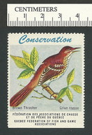 B53-08 CANADA Quebec Conservation QFFGA MNH Bird Brown Thrasher - Local, Strike, Seals & Cinderellas