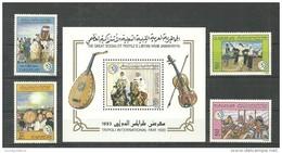 1993- Libya - Tripoli International Fair – Folklore Music Dancing Horses - Minisheet  & Complete Set 4v MNH** - Music