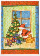 Carte De Fête --Père Noel  Au Pied Du Sapin  (cadeaux )-- Carte Double Italienne - Natale