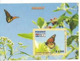 PARAGUAY 2006, BUTTERFLIES AND FLOWERS, JAPANESE INMIGRATION, SOUVENIR SHEET - Paraguay