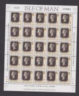 1990 ISLE OF MAN - Souvenir Sheet Of 150years Penny Black ** - Isola Di Man