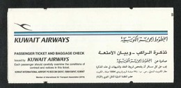 Kuwait Airways Airline Transport Ticket Used Passenger Ticket - Titres De Transport
