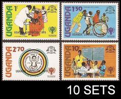 CV:€30.00 UGANDA 1979 IYC Int.Year Of Child Health Handicap Education OVPT:Liberation 10 SETS: (10x4=40 Stamps) - Uganda (1962-...)
