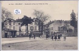 REALMONT- BOULEVARD ET RUE DE L HOTEL DE VILLE- ANIMEE - Realmont