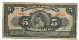 Peru 5 Soles, 1939,  VF. - Peru