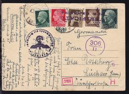 König Viktor Emanuell III 15 C. Mit Zusatzfrankatur Ab Riccione 20.8.40 Nach  - Entiers Postaux