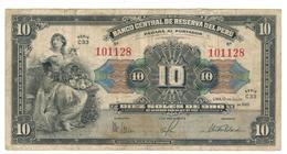 Peru 10 Soles, 1945,  F. - Peru